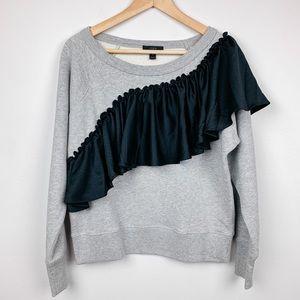 NWOT J.Crew Asymmetrical Ruffle Sweatshirt